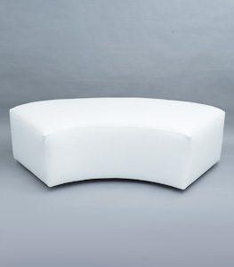 2 Seater White Semi Circular Ottoman