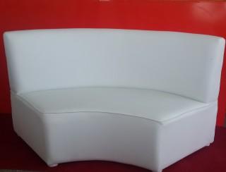 2 SeaterWhite semi-circular Ottomon with back